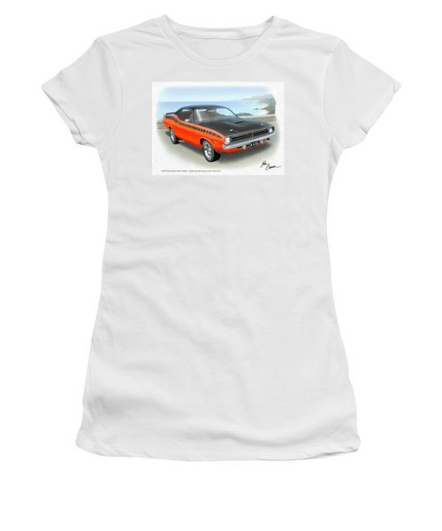 1970 Barracuda Aar  Cuda Classic Muscle Car Women's T-Shirt (Junior Cut) by John Samsen
