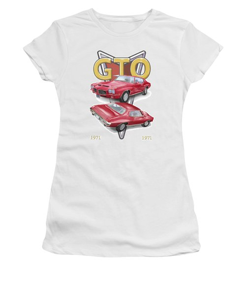 Women's T-Shirt (Athletic Fit) featuring the digital art 1971 Pontiac Gto by Thomas J Herring