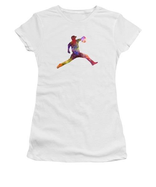 Baseball Player Throwing A Ball Women's T-Shirt (Junior Cut) by Pablo Romero