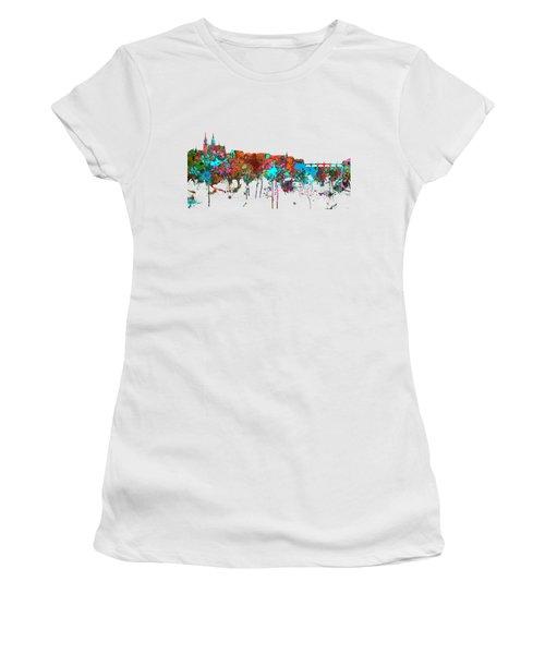 Basle Switzerland Skyline Women's T-Shirt (Junior Cut) by Marlene Watson