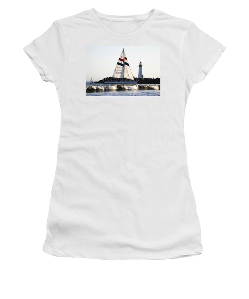 2 Boats Approach Women's T-Shirt (Junior Cut) by Marilyn Hunt
