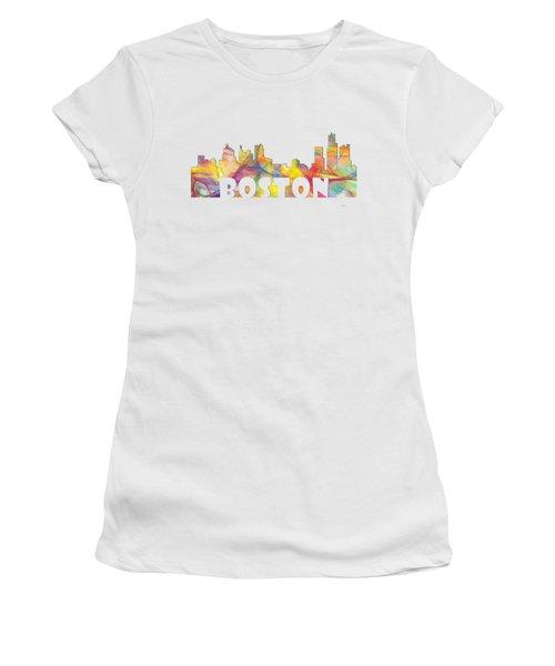 Boston Massachusetts Skyline Women's T-Shirt (Junior Cut) by Marlene Watson