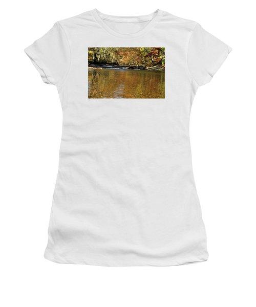 Creek Water Flowing Through Woods In Autumn Women's T-Shirt
