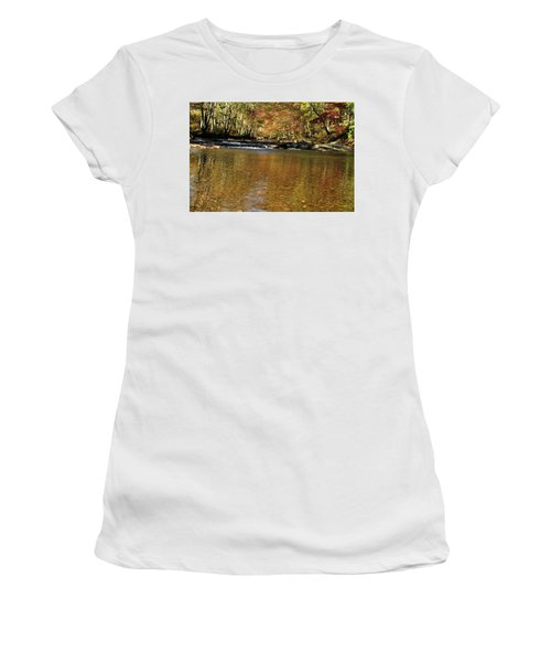 Creek Water Flowing Through Woods In Autumn Women's T-Shirt