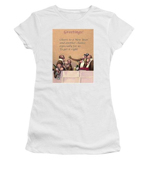 Funny New Year Postcard Women's T-Shirt