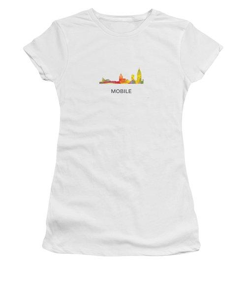 Mobile Alabama Skyline Women's T-Shirt (Junior Cut) by Marlene Watson