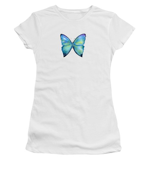2 Morpho Aega Butterfly Women's T-Shirt (Athletic Fit)