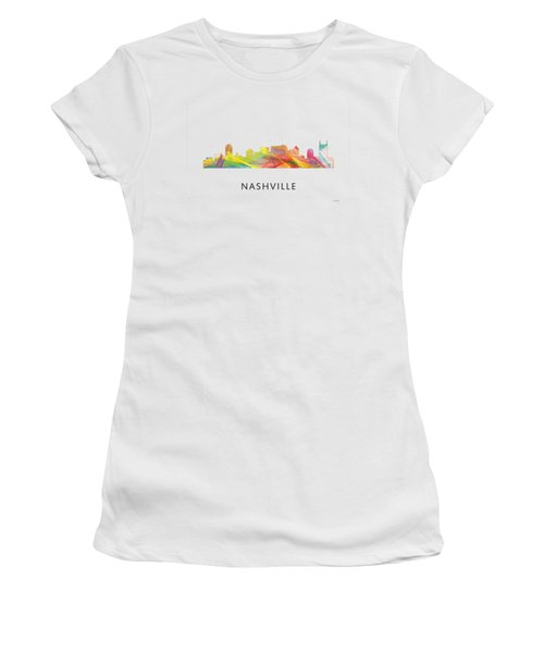 Nashville Tennessee Skyline Women's T-Shirt (Junior Cut) by Marlene Watson