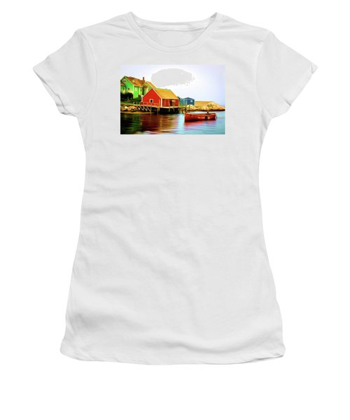 Peggy's Cove Women's T-Shirt (Junior Cut) by Andre Faubert