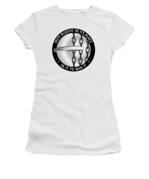 Putt Plastic In Its Place Women's T-Shirt (Junior Cut) by Phil Perkins