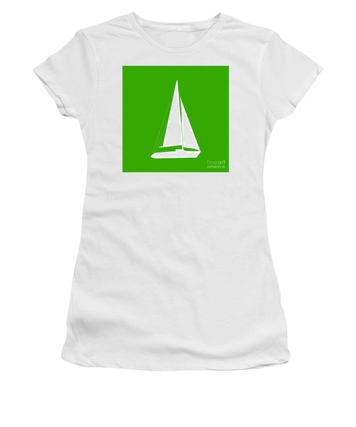 Sailboat In Green And White Women's T-Shirt (Athletic Fit)