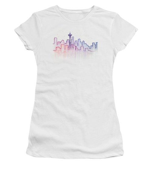 Seattle Skyline Watercolor Women's T-Shirt