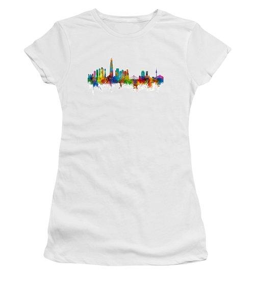 Women's T-Shirt (Junior Cut) featuring the photograph Seoul Skyline South Korea by Michael Tompsett