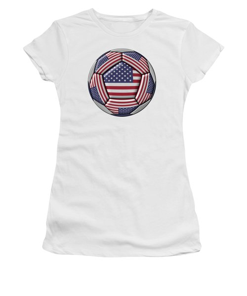 Soccer Ball With United States Flag Women's T-Shirt