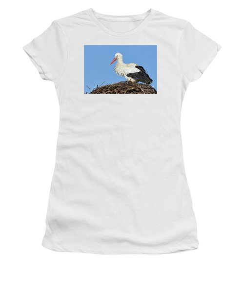 Women's T-Shirt featuring the photograph Stork On A Nest by Nick Biemans