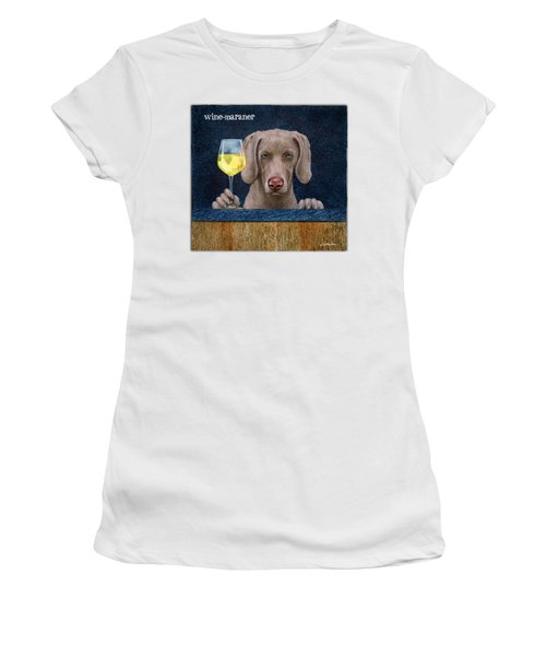 Women's T-Shirt (Junior Cut) featuring the painting Wine-maraner by Will Bullas