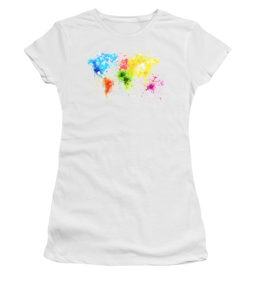 Women's T-Shirt (Junior Cut) featuring the painting World Map Painting by Setsiri Silapasuwanchai