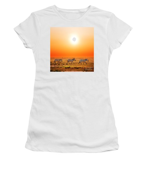 Zebras Herd On African Savanna At Sunset. Women's T-Shirt (Athletic Fit)
