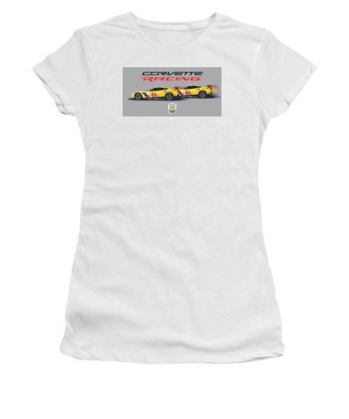 2016 Daytona 24 Hour Corvette Poster Women's T-Shirt (Junior Cut) by Alain Jamar