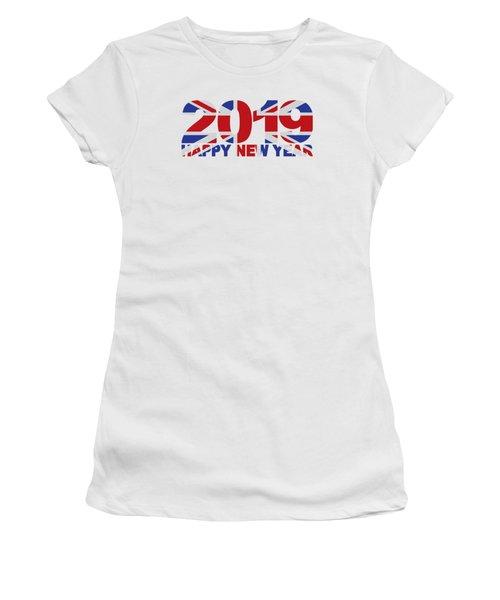 2019 Happy New Year England Flag Illustration Women's T-Shirt