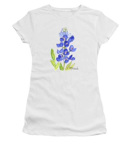 Bluebonnet Women's T-Shirt (Junior Cut) by Kathleen McElwaine