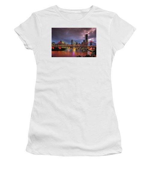 Brisbane City Skyline After Dark Women's T-Shirt (Athletic Fit)