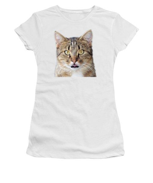 Cat Portrait Women's T-Shirt (Junior Cut) by George Atsametakis