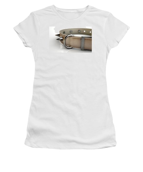 Leather Studded Collar Women's T-Shirt