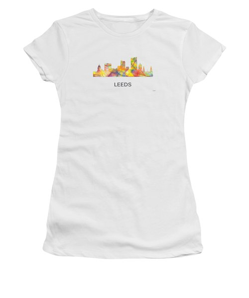 Leeds England Skyline Women's T-Shirt (Junior Cut) by Marlene Watson
