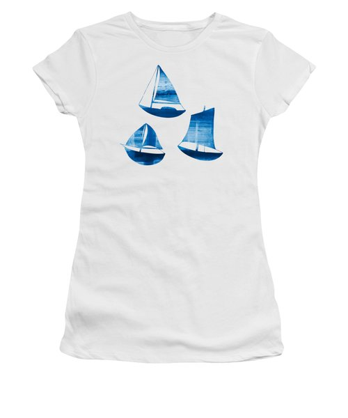 Women's T-Shirt (Junior Cut) featuring the painting 3 Little Blue Sailing Boats by Frank Tschakert