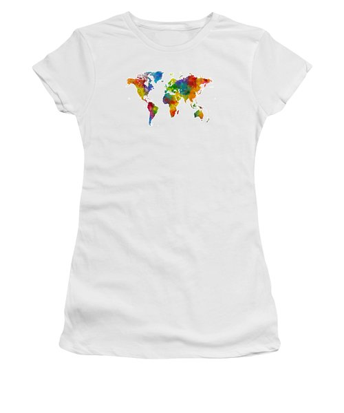 Map Of The World Map Watercolor Women's T-Shirt
