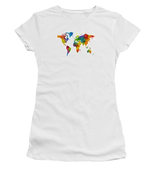 Map Of The World Map Watercolor Women's T-Shirt (Athletic Fit)