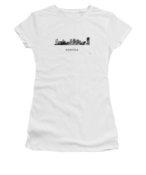 Norfolk Virginia Skyline Women's T-Shirt (Junior Cut) by Marlene Watson