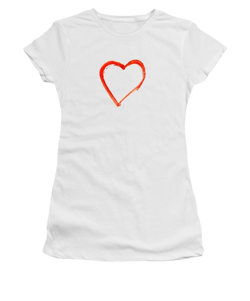 Women's T-Shirt (Junior Cut) featuring the drawing Painted Heart - Symbol Of Love by Michal Boubin