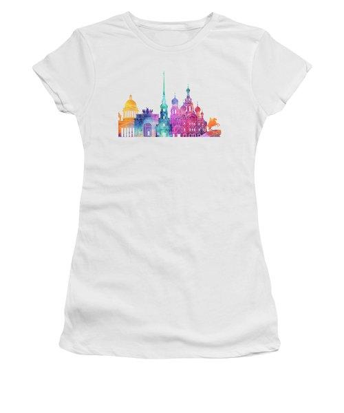 Paris Landmarks Watercolor Poster Women's T-Shirt