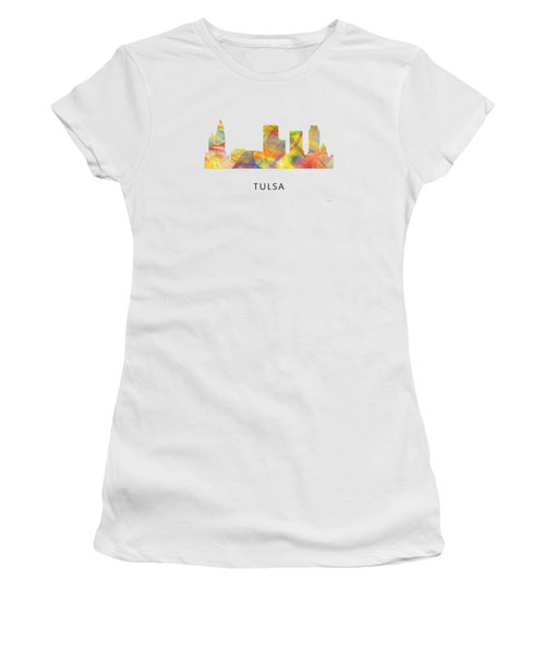 Tulsa Oklahoma Skyline Women's T-Shirt (Junior Cut) by Marlene Watson