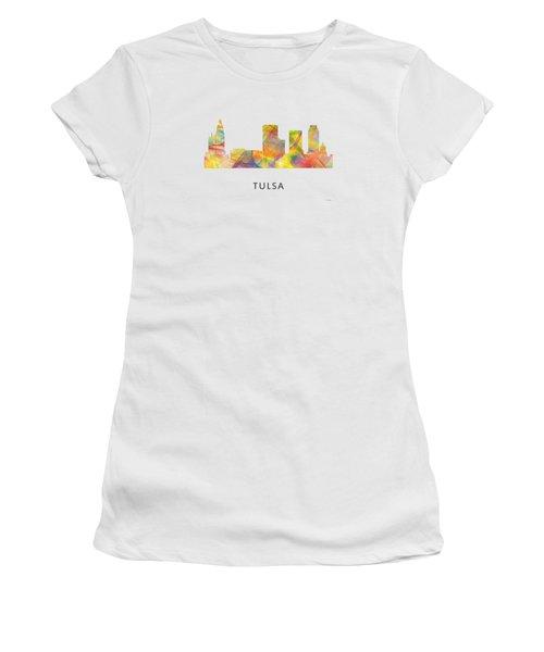 Tulsa Oklahoma Skyline Women's T-Shirt (Junior Cut) by Marlene Watson