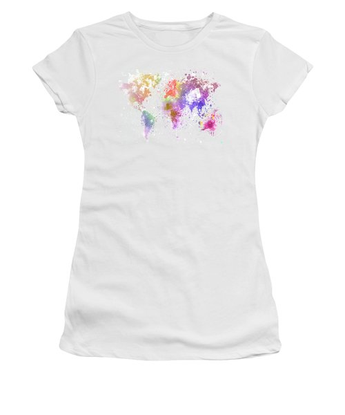 World Map Painting Women's T-Shirt (Athletic Fit)