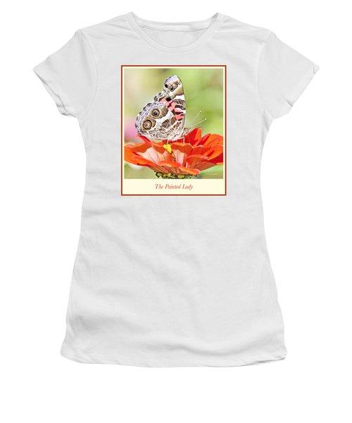 Painted Lady Butterfly On Zinnia Flower Women's T-Shirt (Junior Cut) by A Gurmankin