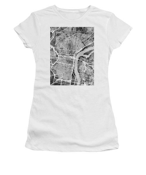 Philadelphia Pennsylvania Street Map Women's T-Shirt