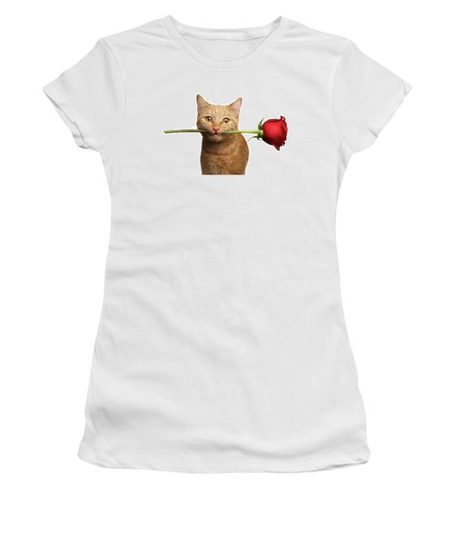 Portrait Of Ginger Cat Brought Rose As A Gift Women's T-Shirt