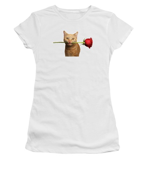 Women's T-Shirt featuring the photograph Portrait Of Ginger Cat Brought Rose As A Gift by Sergey Taran