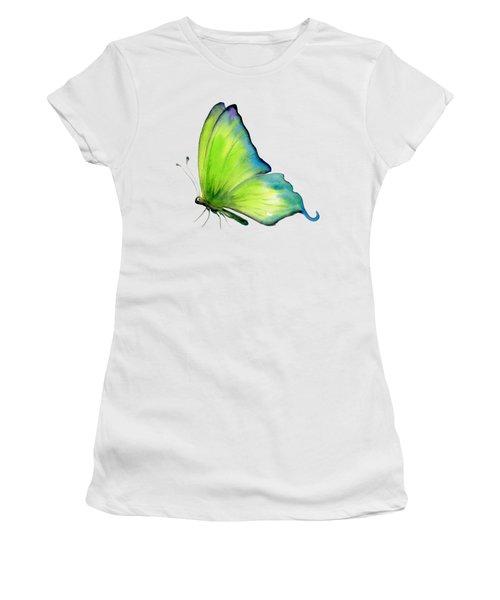4 Skip Green Butterfly Women's T-Shirt (Junior Cut) by Amy Kirkpatrick