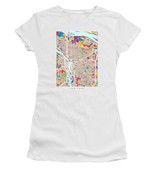 Portland Oregon City Map Women's T-Shirt
