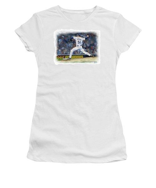 Women's T-Shirt (Junior Cut) featuring the photograph Trevor Hoffman by Don Olea