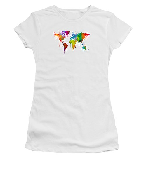 Watercolor Map Of The World Map Women's T-Shirt (Junior Cut) by Michael Tompsett
