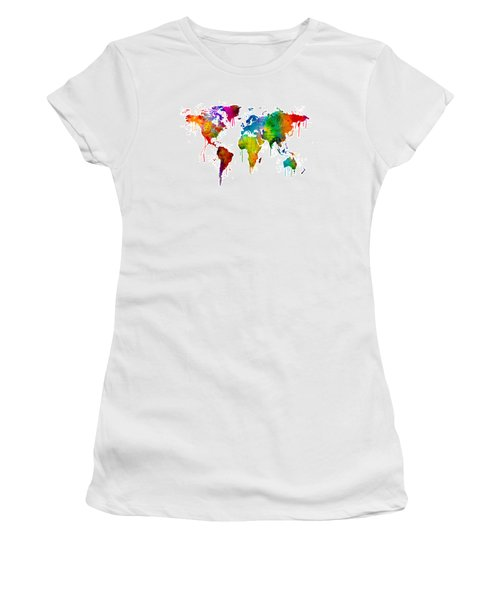 Watercolor Map Of The World Map Women's T-Shirt