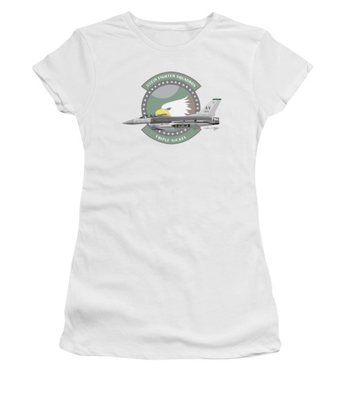 Lockheed Martin F-16c Viper Women's T-Shirt (Junior Cut) by Arthur Eggers