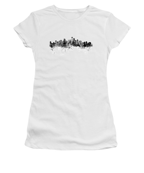 Seattle Washington Skyline Women's T-Shirt (Junior Cut) by Michael Tompsett