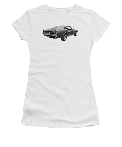 67 Fastback Mustang In Black And White Women's T-Shirt